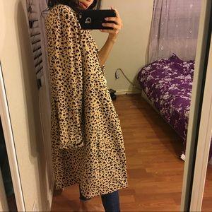 vintage sag harbor leopard print oversized coat